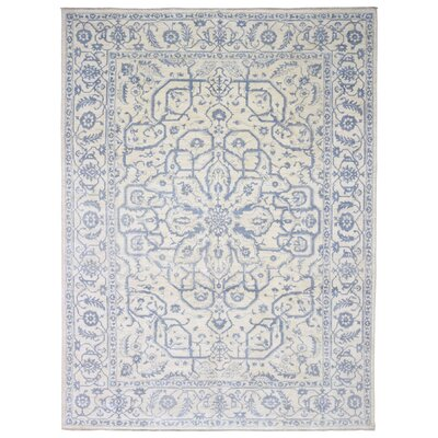 Ardith Oriental Hand Woven Wool Blue Area Rug