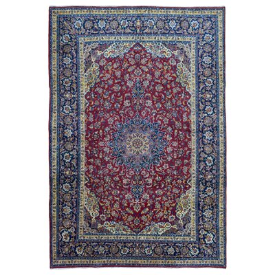 One-of-a-Kind Banstead Isfahan Oriental Hand Woven Wool Red/Blue Floral Area Rug
