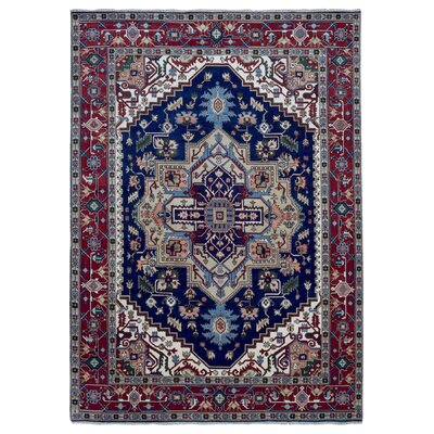 One-of-a-Kind  Roselle Traditional Oriental Hand Woven Blue Fringe Area Rug