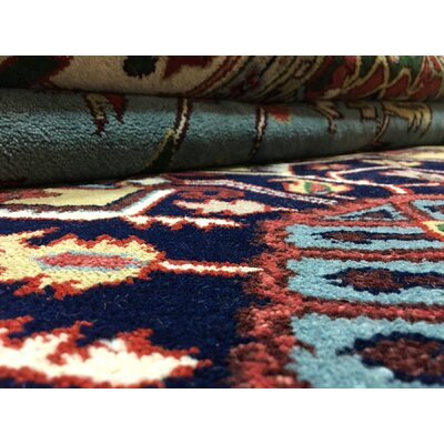 One-of-a-Kind  Roselle Oriental Hand Woven Rectangle Blue Area Rug