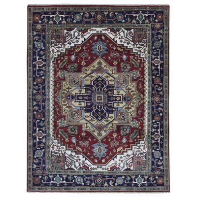 One-of-a-Kind  Roselle Traditional Oriental Hand Woven Wool Blue Area Rug