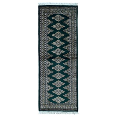 One-of-a-Kind Safire Royal Bukhara Oriental Hand Woven Silk Green Area Rug
