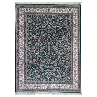 One-of-a-Kind Barhill Kashan Oriental Hand Woven Silk Green/Red Area Rug