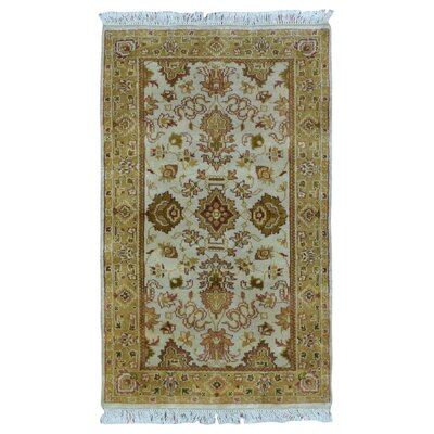 One-of-a-Kind Mitchel Traditional Oriental Hand Woven Brown/Blue Area Rug