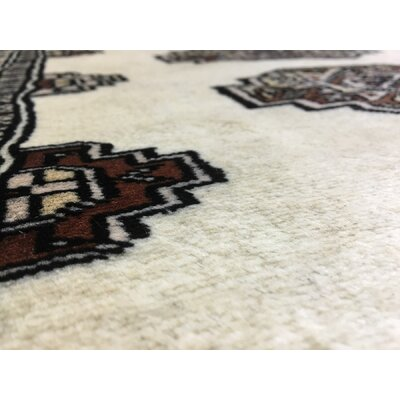 One-of-a-Kind Samual Royal Bukhara Hand-Woven Silk, Wool Ivory Area Rug
