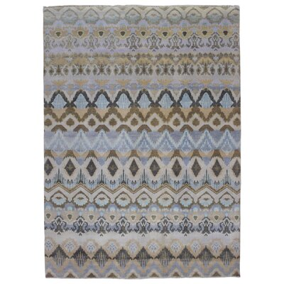 One-of-a-Kind Katelynn Ikat Hand Woven Wool Blue/Brown Area Rug