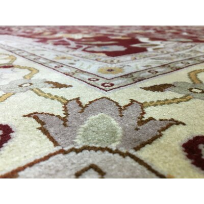 One-of-a-Kind Ballyclarc Oriental Hand Woven Wool Red/Beige Area Rug