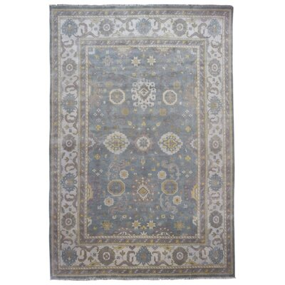 One-of-a-Kind Mitchel Traditional Oriental Hand Woven Wool Blue/Gray Fringe Area Rug