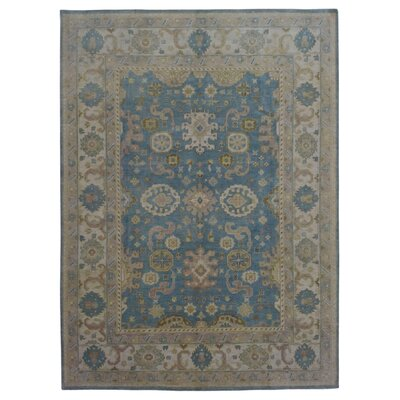 One-of-a-Kind Mitchel Traditional Oriental Hand-Knotted Wool Blue Area Rug
