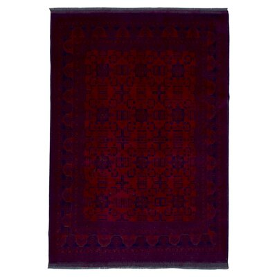 One-of-a-Kind San Vicente Traditional Khal Mohammadi Afghan Hand-Knotted Wool Red Area Rug