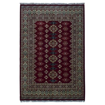 One-of-a-Kind Santa Fe Khal Mohammadi Afghan Hand-Woven Wool Red/Beige Area Rug