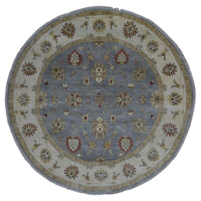 One-of-a-Kind Ardith Round Hand-Woven Wool Blue Area Rug
