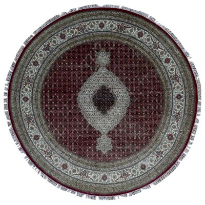 One-of-a-Kind Bakerstown Oriental Hand Woven Round Silk Red/Gray Area Rug