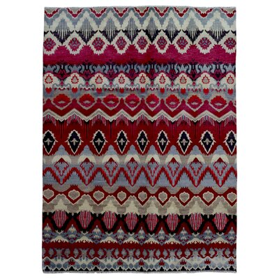 One-of-a-Kind Maranda Ikat Oriental Hand Woven Wool Red/Blue Area Rug