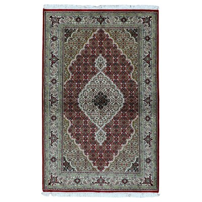 One-of-a-Kind Bakerstown Oriental Hand Woven Silk Red/Green Area Rug