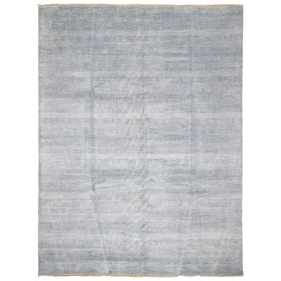 One-of-a-Kind Zorya Hand-Woven Wool and Silk Gray Area Rug