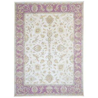 One-of-a-Kind Shumaker Hand-Woven Wool Beige/Purple Area Rug
