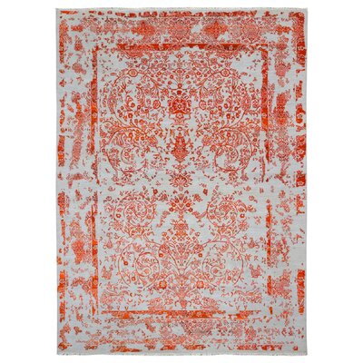 One-of-a-Kind Easthampton Hand-Woven Wool Orange Area Rug