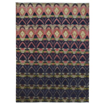 One-of-a-Kind Hand-Woven Rectangle Wool Navy/Peach Area Rug