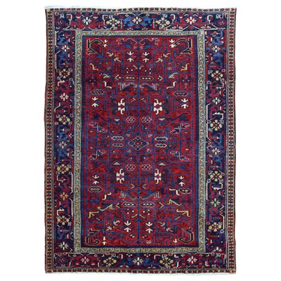 One-of-a-Kind Marjorie Hand-Woven Wool Red/Blue Area Rug