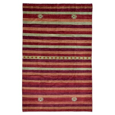One-of-a-Kind Hand-Woven Wool Red Striped Area Rug