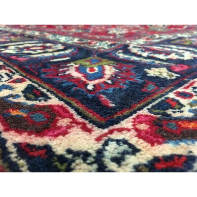 One-of-a-Kind Avonmore Hand-Woven Rectangle Wool Red/Navy Area Rug