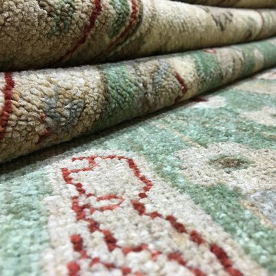 One-of-a-Kind Pearle Hand Woven Wool Green Area Rug