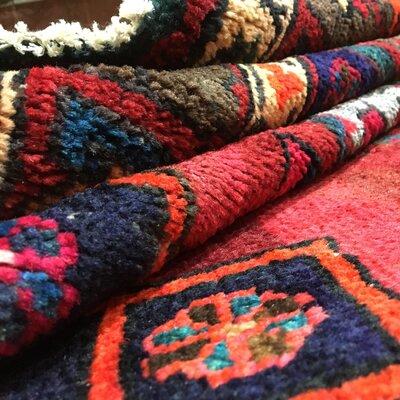 One-of-a-Kind Alani Persian Semi-Antique Hamadan Oriental Hand Woven Wool Red Area Rug