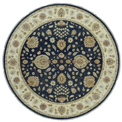 One-of-a-Kind Pearle Oriental Hand Woven Round Wool Blue/Beige/Brown Area Rug