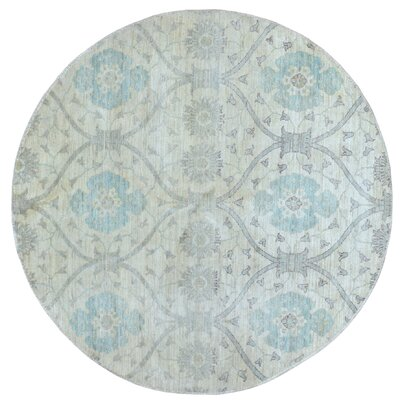 One-of-a-Kind Pearle Round Oriental Hand Woven Wool Beige Area Rug