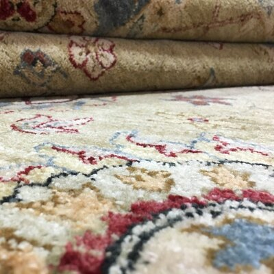 One-of-a-Kind Pearle Traditional Oriental Floral Hand Woven Wool Beige Area Rug