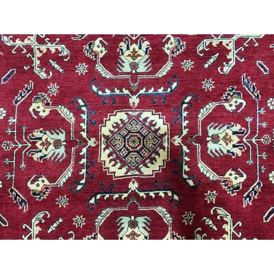 One-of-a-Kind Evert Kazak Hand-Woven Wool Red Area Rug