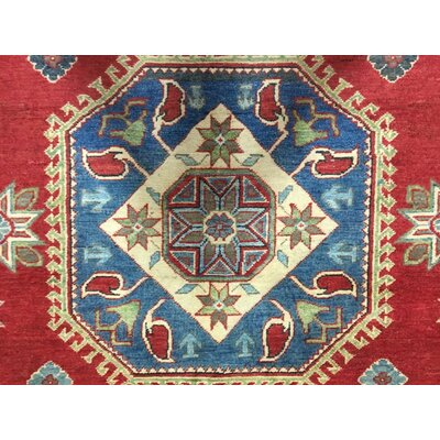 One-of-a-Kind Evert Kazak Hand-Woven Rectangle Wool Red Area Rug