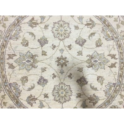 One-of-a-Kind Evert Traditional Peshawar Hand-Woven Round Wool Beige Area Rug