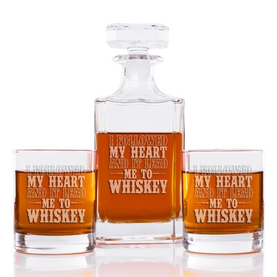 I Followed My Heart and It Lead to Whiskey Classic Square 3 Piece Beverage Serving Set EUBM5178 42924166