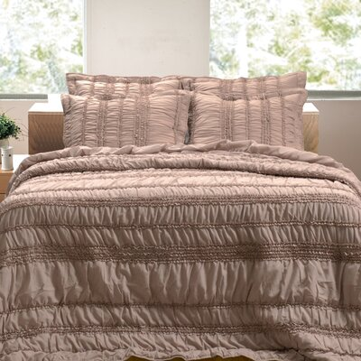 Tiana Ruched Reversible Quilt Set Size: Twin, Color: Taupe