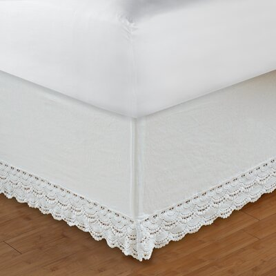 Crochet Lace 126 Thread Count Bed Skirt Size: Twin