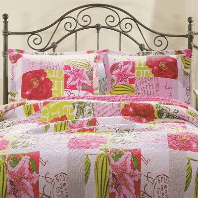 Love Letters Cotton Reversible Quilt Set Size: Twin