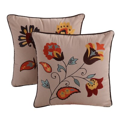 Andorra Embroidered Cotton Throw Pillow