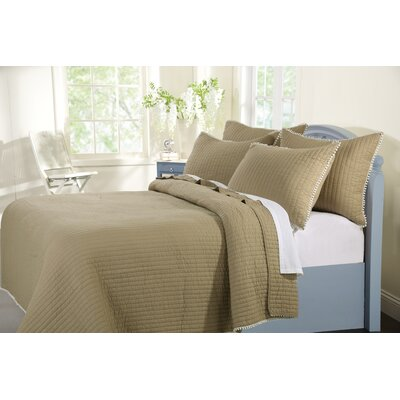 Pom Pom Quilt Set Size: King, Color: Sand