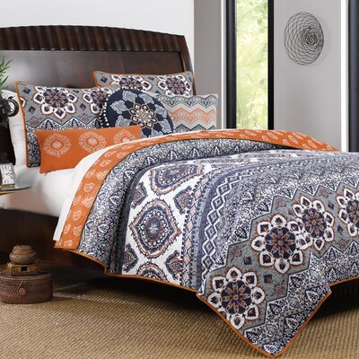 Medina Reversible Quilt Set Size: King, Color: Saffron