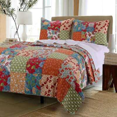 Terra Blossom Reversible Quilt Set Size: Full/Queen