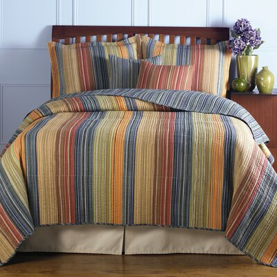 Greenland Home Fashions Polka Dot Stripe Quilt Set | Wayfair