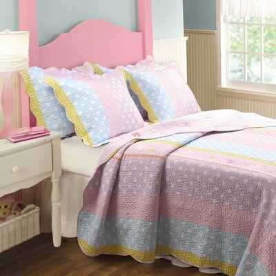 Polka Dot Reversible Quilt Set Size: Twin