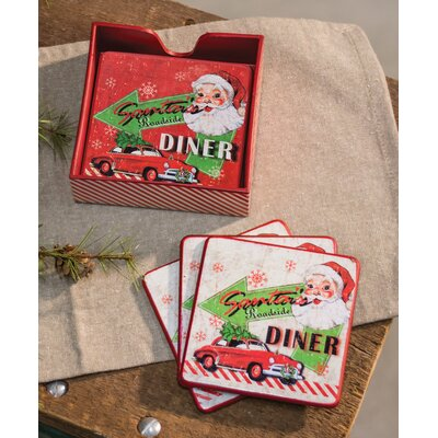 Santa's Diner 7 Piece Coaster Set THDA6454 43179681