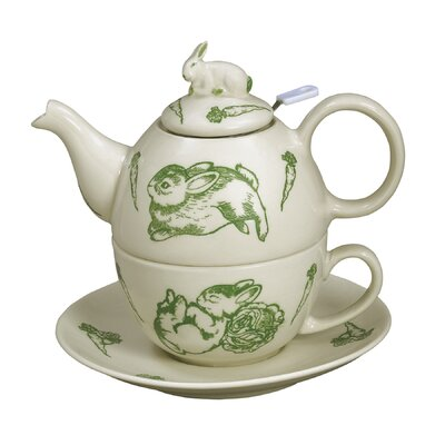 Bunny Toile 3 Piece Porcelain China Tea Set 20359