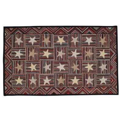Charrington Star Hand Tufted Wool Red Area Rug Rug Size: 3 x 5