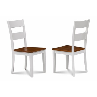 Emmalynn Modern Solid Wood Dining Chair Color: White/Cherry