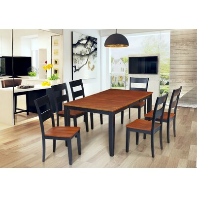Hassett 7 Piece Extendable Dining Set Table Top Color: Brown, Table Base Color: Black