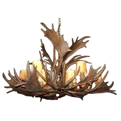 Attwood Antler Fallow Mule Deer Single Tier 12-Light Candle-Style Chandelier Finish: Rustic Bronze/White, Shade Color: Parchment, Shade Included: Yes